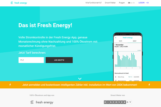 Screenshot Fresh Energy GmbH